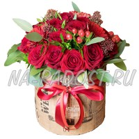 Цветы в коробке №5BURGUNDY