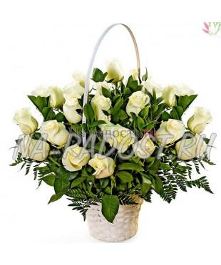 """Корзина роз """"Белые ночи"""""""