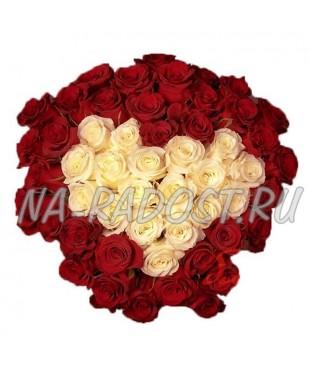 """Букет белых и красных роз """"Влюбенность"""""""