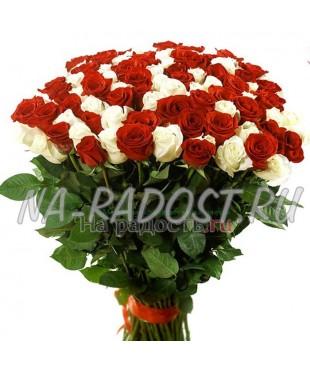 Элитный букет из белых и красных роз