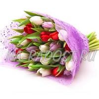 """Букет из разноцветных тюльпанов """"Каскад чувств"""""""