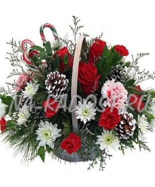 """Корзина цветов """"Ночь перед рождеством"""""""