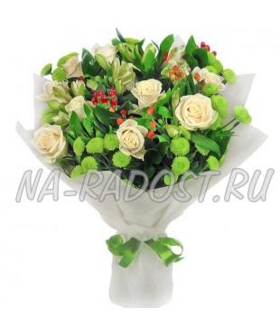 """Букет из роз и хризантем """"Весеннее настроение"""""""